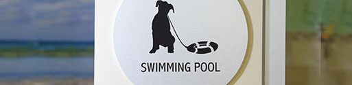 sign saying showing dog words saying swimming pool